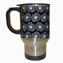 Black And White Gerbera Daisy Vector Tile Pattern Travel Mugs (white) by creativemom