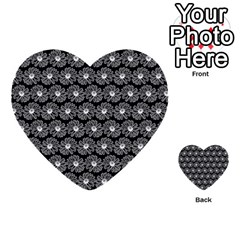 Black And White Gerbera Daisy Vector Tile Pattern Multi Purpose Cards (heart)