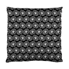 Black And White Gerbera Daisy Vector Tile Pattern Standard Cushion Cases (two Sides)  by creativemom