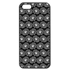Black And White Gerbera Daisy Vector Tile Pattern Apple Iphone 5 Seamless Case (black) by creativemom