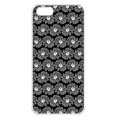 Black And White Gerbera Daisy Vector Tile Pattern Apple Iphone 5 Seamless Case (white) by creativemom