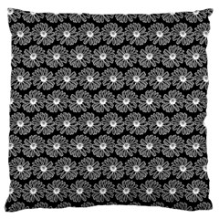 Black And White Gerbera Daisy Vector Tile Pattern Large Flano Cushion Cases (one Side)  by creativemom