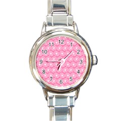 Pink Gerbera Daisy Vector Tile Pattern Round Italian Charm Watches