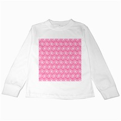 Pink Gerbera Daisy Vector Tile Pattern Kids Long Sleeve T Shirts by creativemom