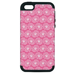 Pink Gerbera Daisy Vector Tile Pattern Apple Iphone 5 Hardshell Case (pc+silicone) by creativemom
