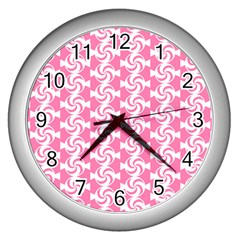 Cute Candy Illustration Pattern For Kids And Kids At Heart Wall Clocks (silver)  by creativemom