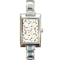 Mushrooms Pattern Rectangle Italian Charm Watches by Famous