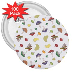 Mushrooms Pattern 3  Buttons (100 Pack)  by Famous