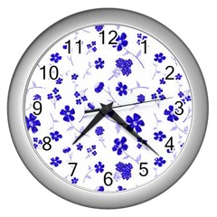 Sweet Shiny Flora Blue Wall Clocks (silver)  by ImpressiveMoments