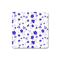 Sweet Shiny Flora Blue Square Magnet by ImpressiveMoments