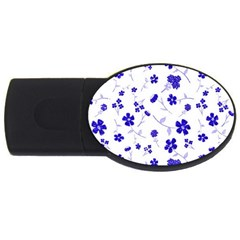 Sweet Shiny Flora Blue Usb Flash Drive Oval (4 Gb)  by ImpressiveMoments