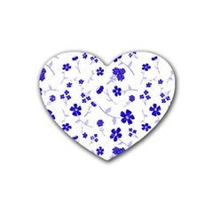 Sweet Shiny Flora Blue Heart Coaster (4 Pack)  by ImpressiveMoments
