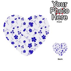 Sweet Shiny Flora Blue Multi Purpose Cards (heart)