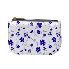 Sweet Shiny Flora Blue Mini Coin Purses by ImpressiveMoments