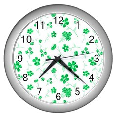 Sweet Shiny Floral Green Wall Clocks (silver)  by ImpressiveMoments