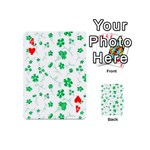 Sweet Shiny Floral Green Playing Cards 54 (Mini)  Front - Heart4