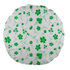 Sweet Shiny Floral Green Large 18  Premium Flano Round Cushions by ImpressiveMoments