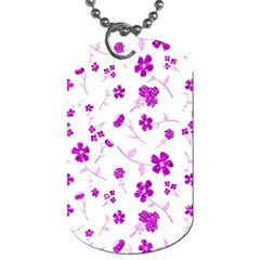 Sweet Shiny Floral Pink Dog Tag (two Sides) by ImpressiveMoments
