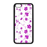Sweet Shiny Floral Pink Apple iPhone 5C Seamless Case (Black) Front