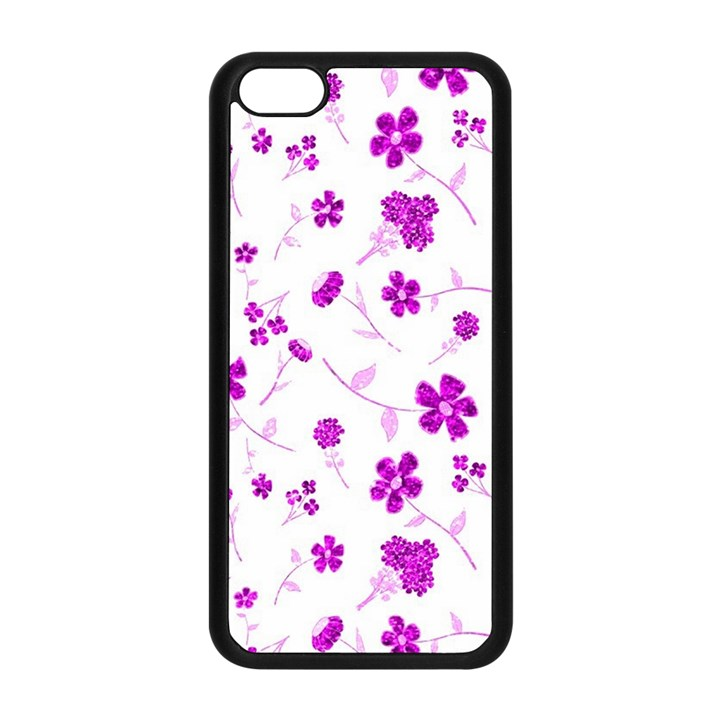 Sweet Shiny Floral Pink Apple iPhone 5C Seamless Case (Black)