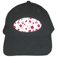 Sweet Shiny Floral Red Black Cap by ImpressiveMoments