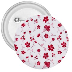 Sweet Shiny Floral Red 3  Buttons by ImpressiveMoments