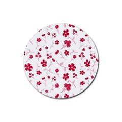 Sweet Shiny Floral Red Rubber Round Coaster (4 Pack)  by ImpressiveMoments