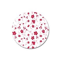 Sweet Shiny Floral Red Magnet 3  (round) by ImpressiveMoments