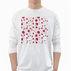 Sweet Shiny Floral Red White Long Sleeve T Shirts