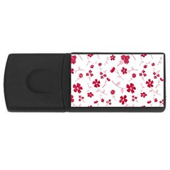 Sweet Shiny Floral Red Usb Flash Drive Rectangular (4 Gb)  by ImpressiveMoments