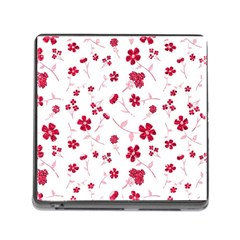 Sweet Shiny Floral Red Memory Card Reader (square) by ImpressiveMoments