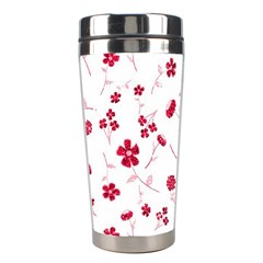 Sweet Shiny Floral Red Stainless Steel Travel Tumblers by ImpressiveMoments
