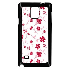 Sweet Shiny Floral Red Samsung Galaxy Note 4 Case (Black) by ImpressiveMoments