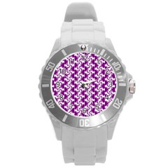 Candy Illustration Pattern Round Plastic Sport Watch (l) by creativemom