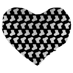 Black And White Cute Baby Socks Illustration Pattern Large 19  Premium Flano Heart Shape Cushions by creativemom