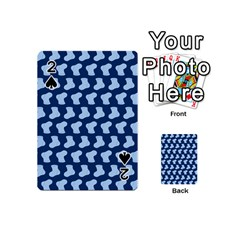 Blue Cute Baby Socks Illustration Pattern Playing Cards 54 (mini)
