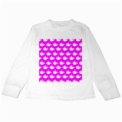 Cute Whale Illustration Pattern Kids Long Sleeve T-Shirts by creativemom