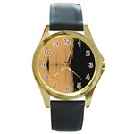 Sunset Black Round Gold Metal Watches
