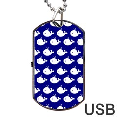 Cute Whale Illustration Pattern Dog Tag Usb Flash (one Side) by creativemom