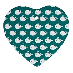Cute Whale Illustration Pattern Ornament (Heart)