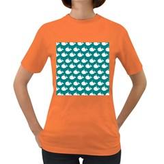 Cute Whale Illustration Pattern Women s Dark T-Shirt