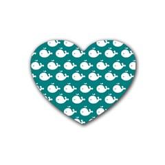 Cute Whale Illustration Pattern Rubber Coaster (Heart)