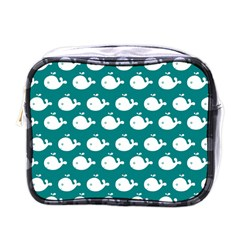Cute Whale Illustration Pattern Mini Toiletries Bags by creativemom