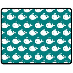 Cute Whale Illustration Pattern Fleece Blanket (Medium)