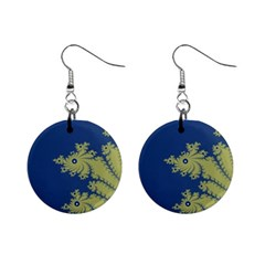 Blue And Green Design Mini Button Earrings by theunrulyartist