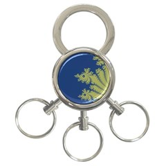 Blue And Green Design 3 Ring Key Chains by theunrulyartist