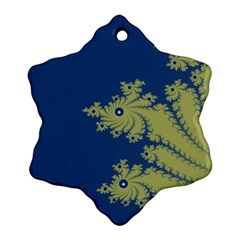Blue And Green Design Snowflake Ornament (2 Side) by digitaldivadesigns