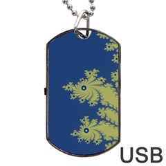 Blue and Green Design Dog Tag USB Flash (Two Sides)  by theunrulyartist