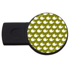 Cute Whale Illustration Pattern Usb Flash Drive Round (4 Gb)  by creativemom