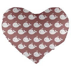 Cute Whale Illustration Pattern Large 19  Premium Heart Shape Cushions by creativemom